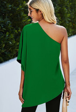 Kelly Green Blouse,Loose Fitting One Shoulder Top