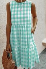 Mint & White Plaid, Tiered Ruffle A-Line Dress