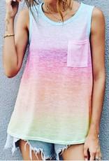 Shewin Inc. Rainbow Multi Color Ombre Tank Top