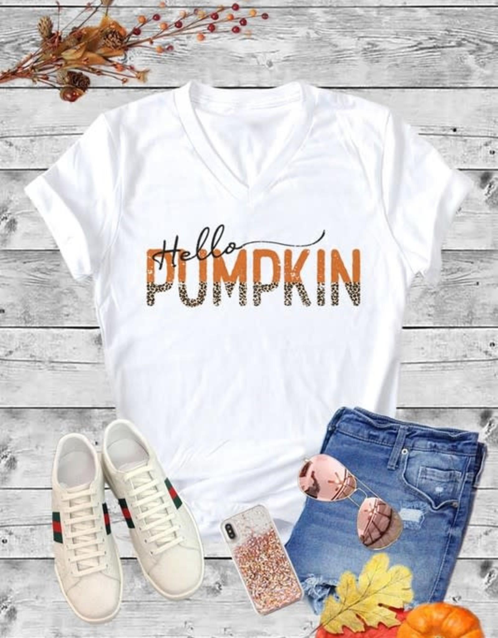 Caramelo Trend Hello Pumpkin wht V- Neck Tee