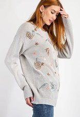Easel Light Sweater with Embroidered Flowers