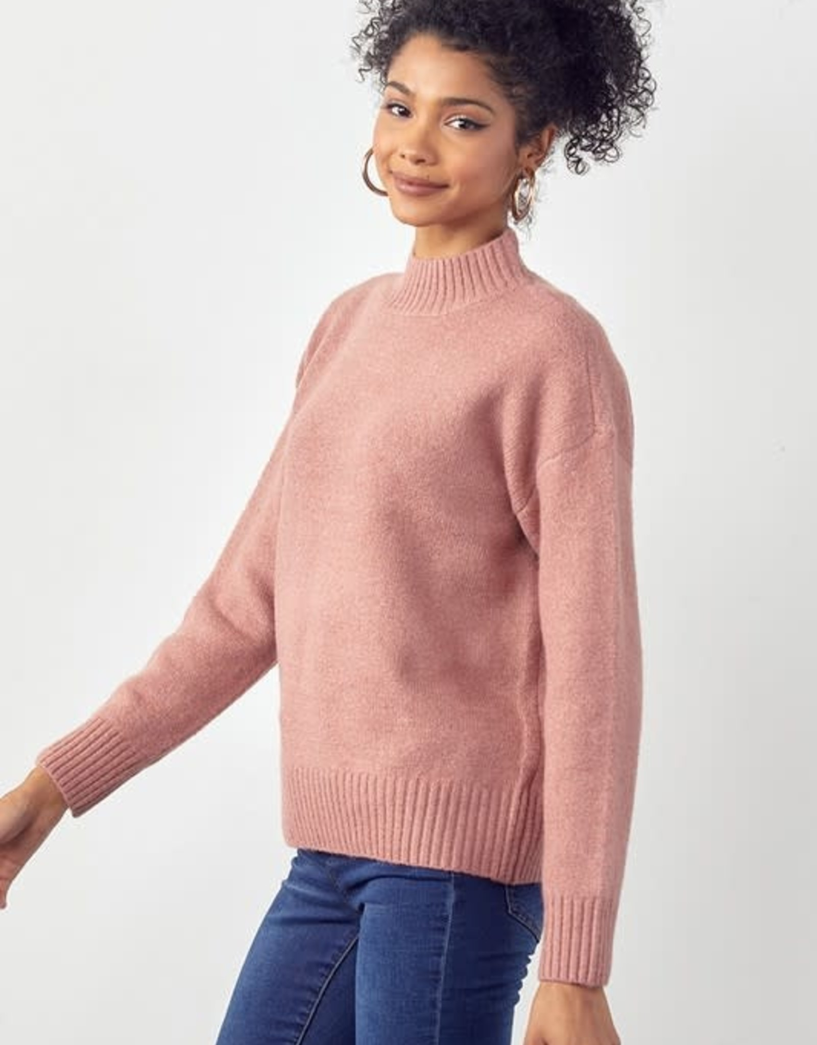 Beloved Ribbed Mock Neck Solid Sweater -