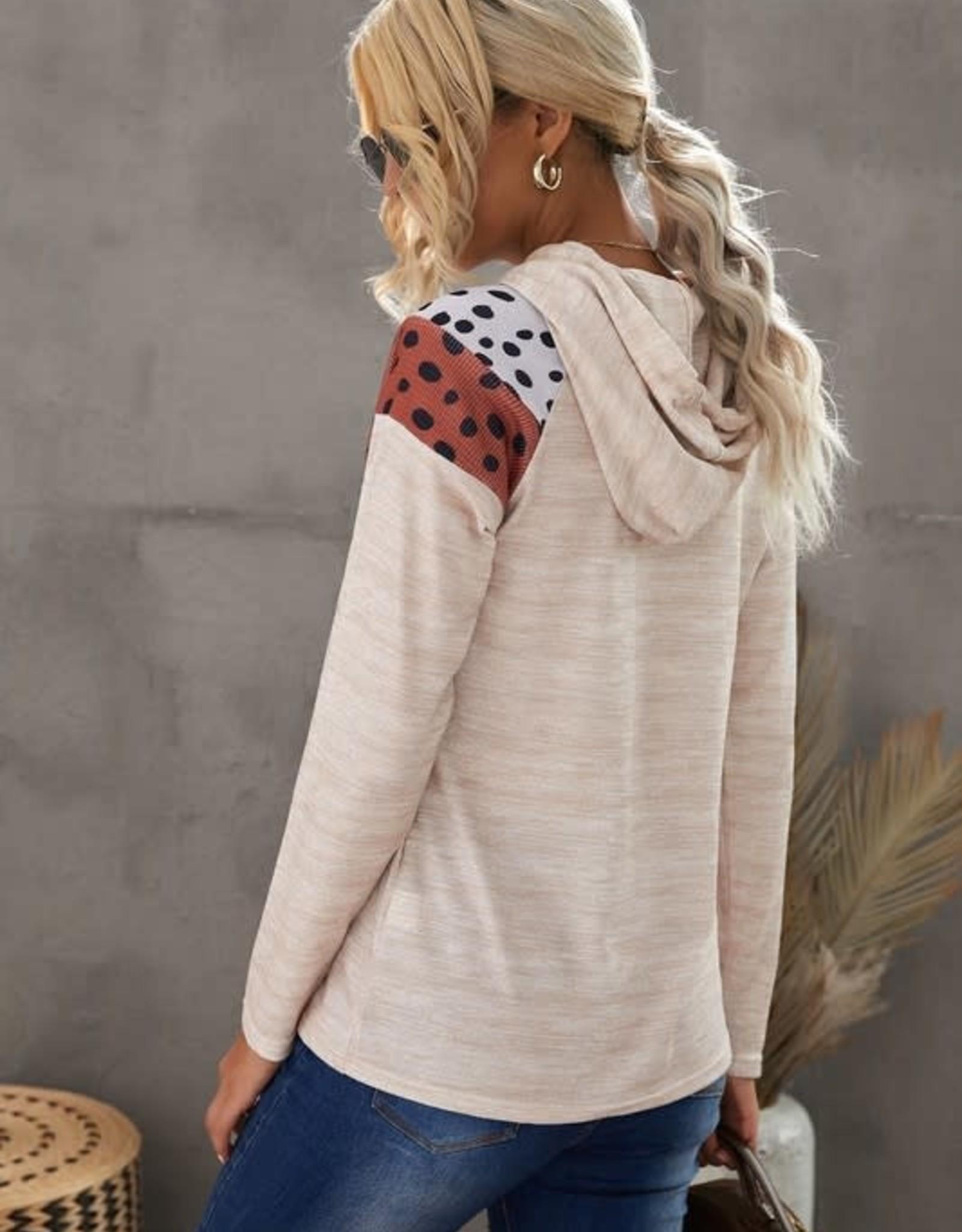 Shiying Fashion Cheetah Chevron Color Block Hoodie