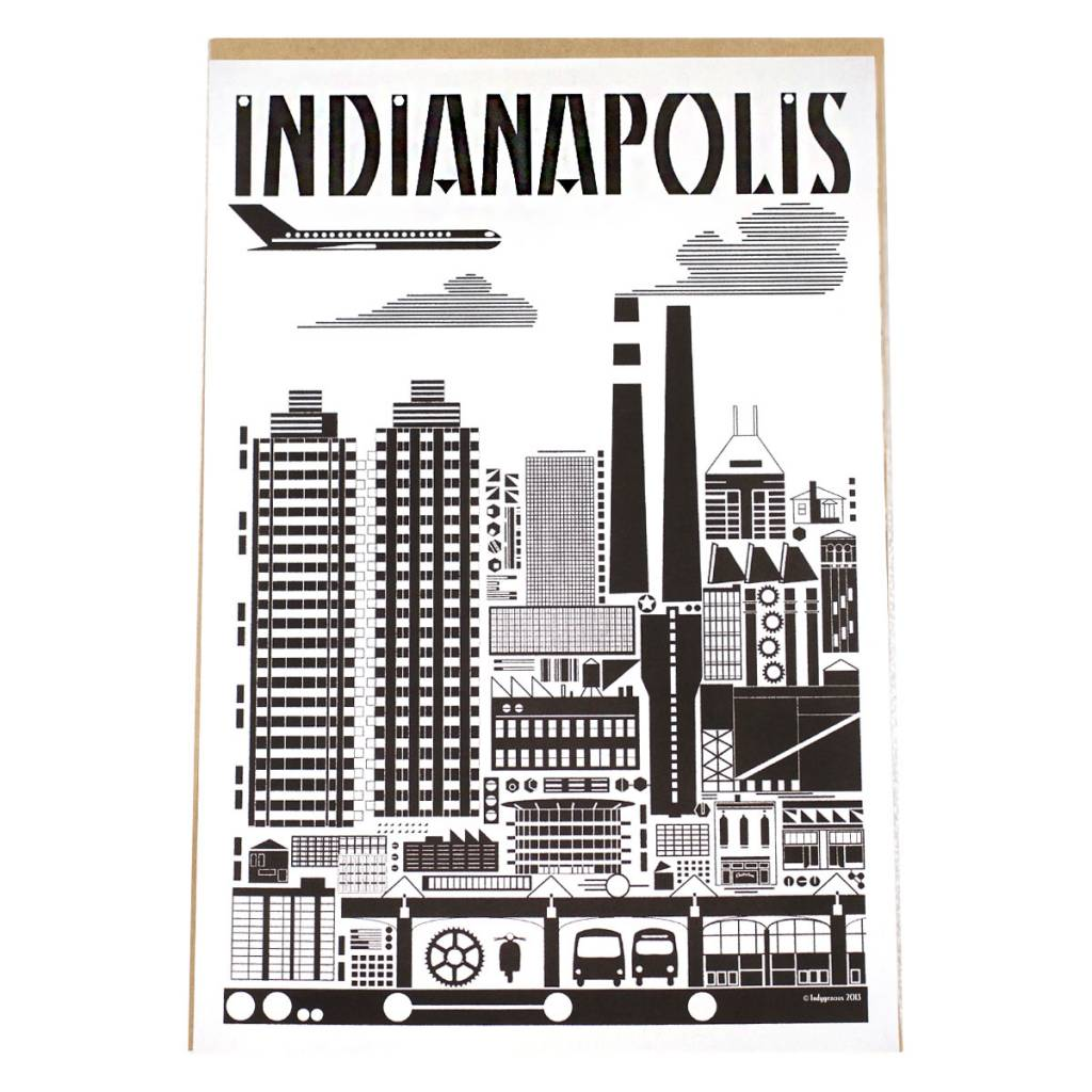 Indygenous INDIANAPOLIS (Black & White) 12x18 Poster