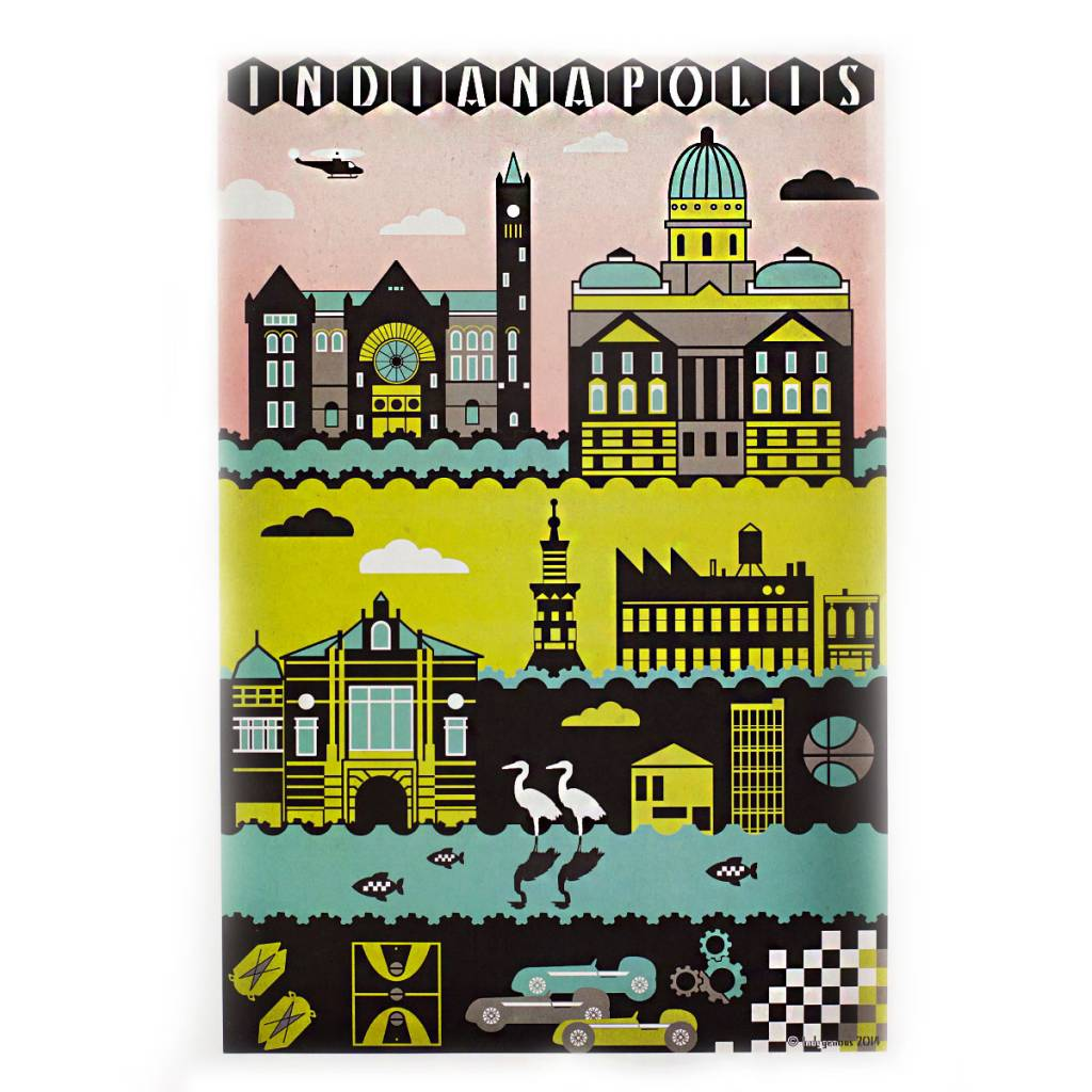 Indygenous Indianapolis: Mid-century Color 12x18 Poster