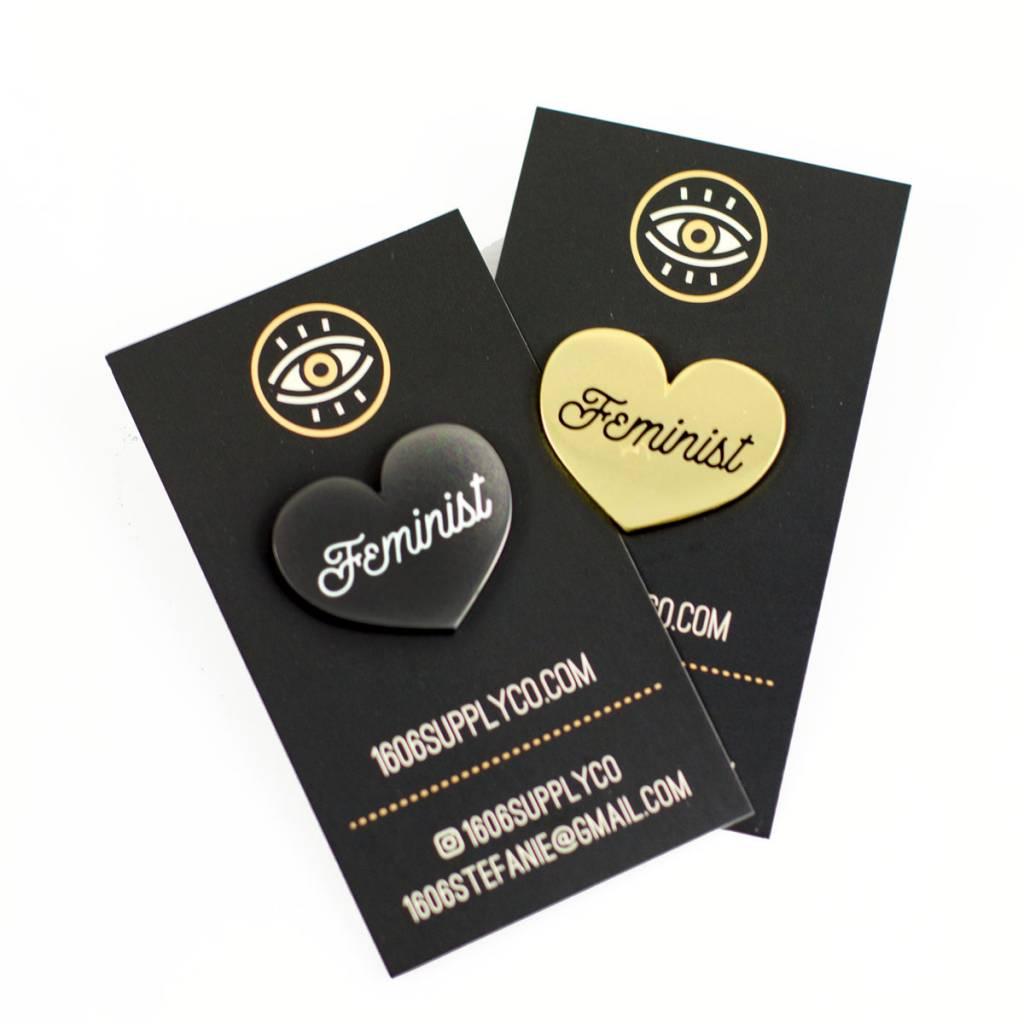 1606 Feminist Gold Heart Enamel Pin