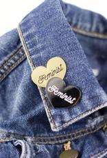 1606 Feminist Black Heart Enamel Pin