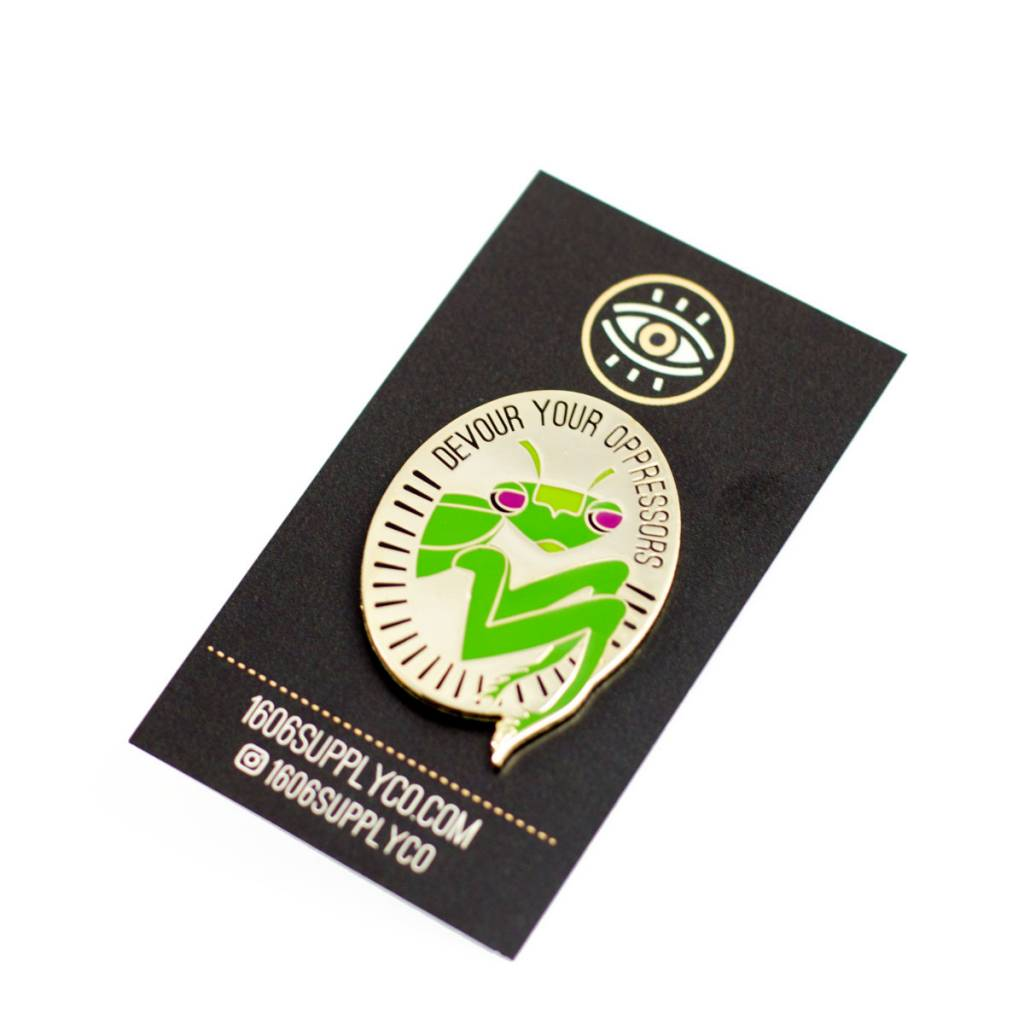 1606 Mantis Gold Enamel Pin