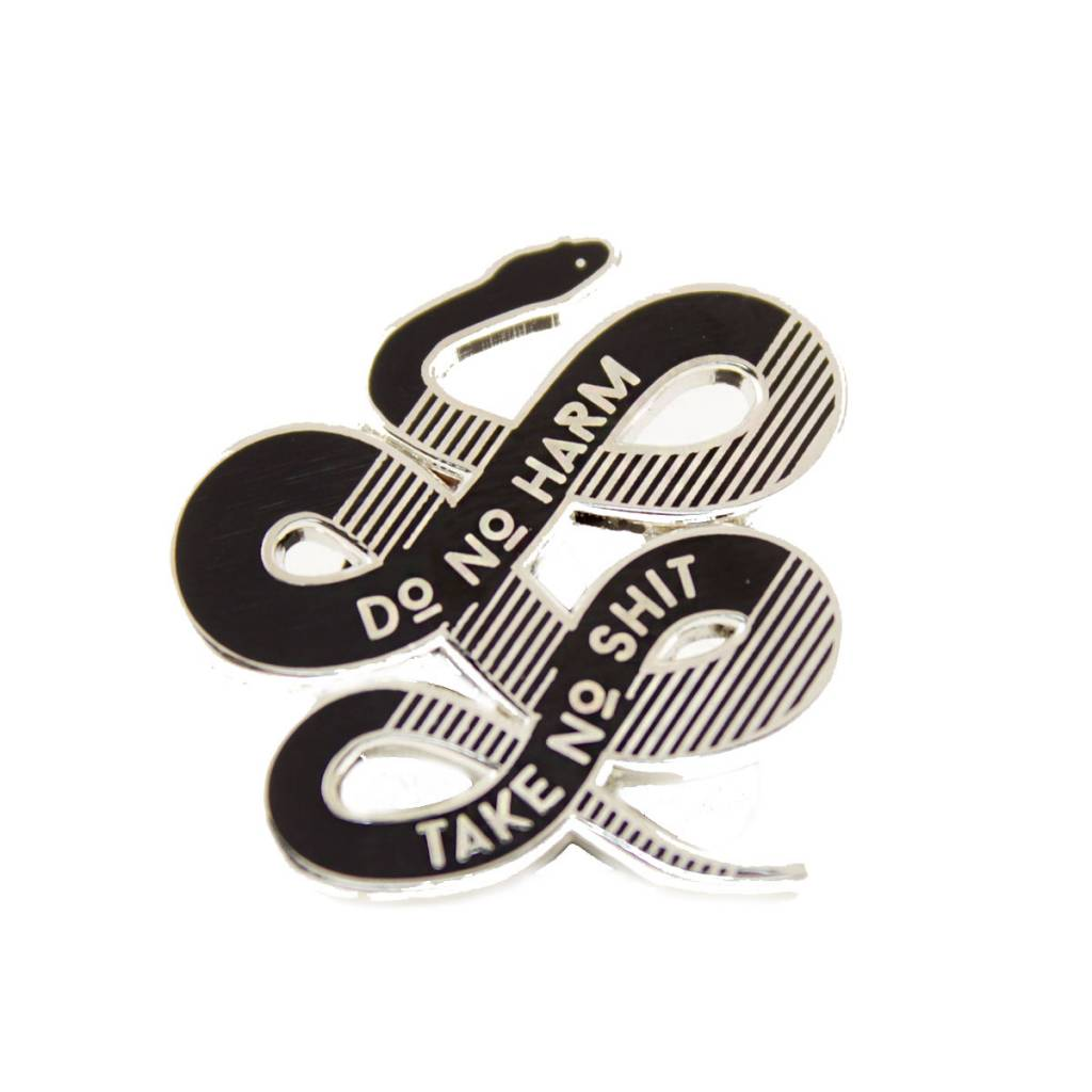 1606 No Harm Silver Enamel Pin