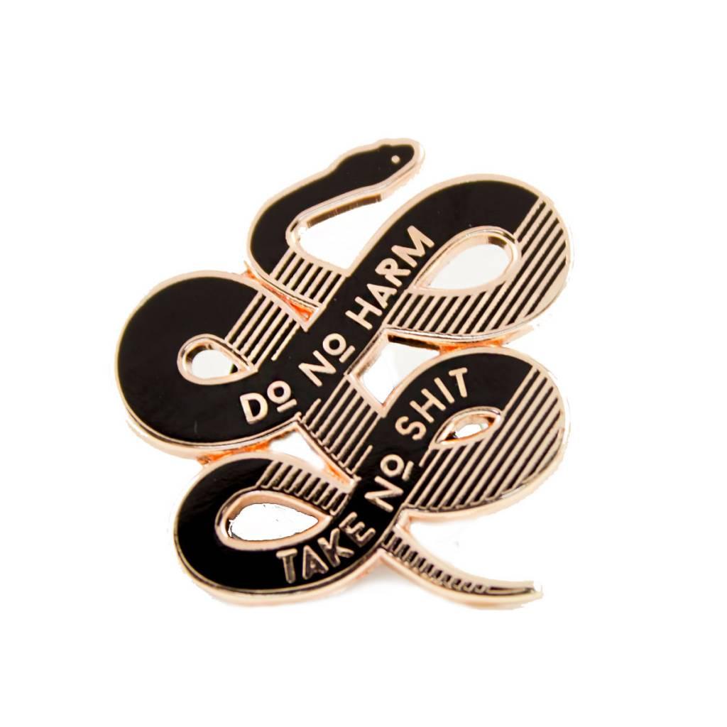 1606 No Harm Rose Gold Enamel Pin