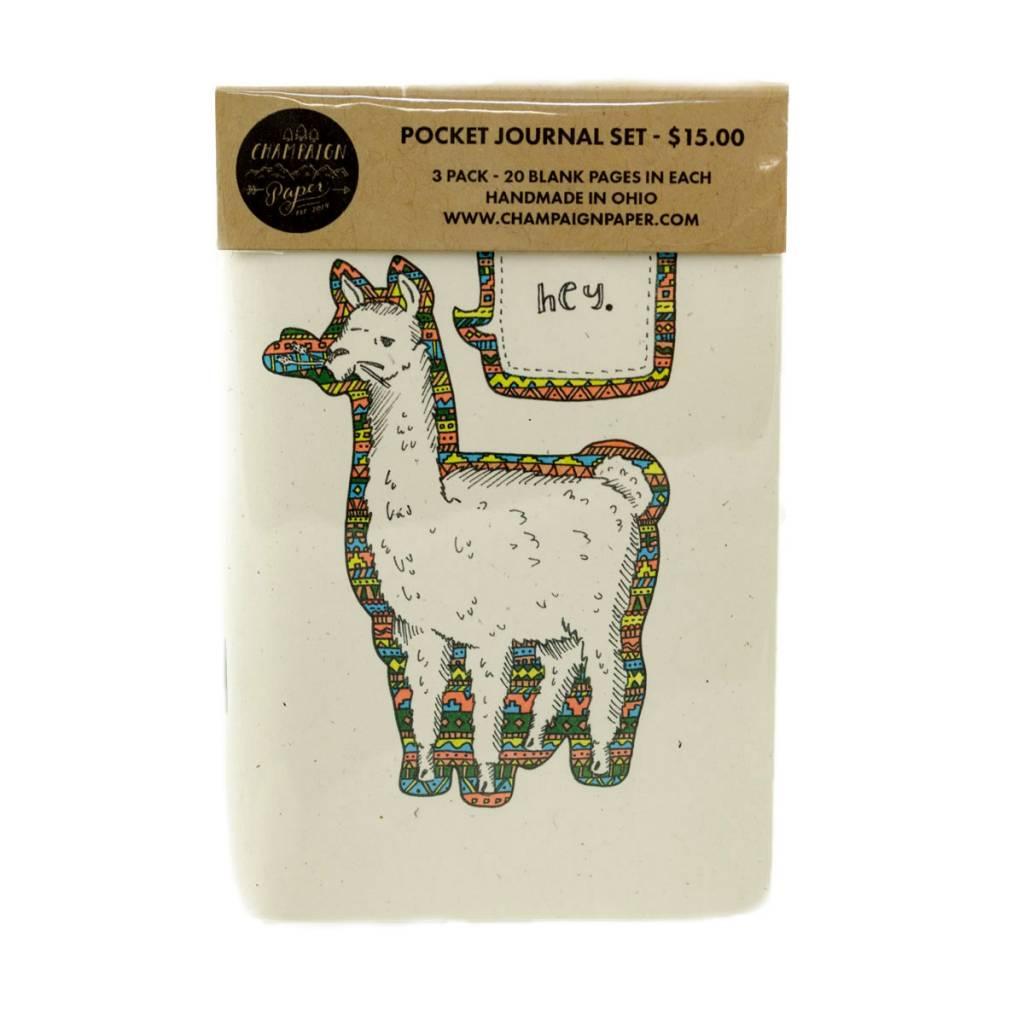 Champaign Paper Llama Pocket Journal Set