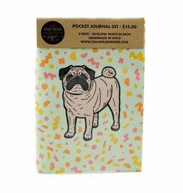 Champaign Paper Pug Pocket Journal Set
