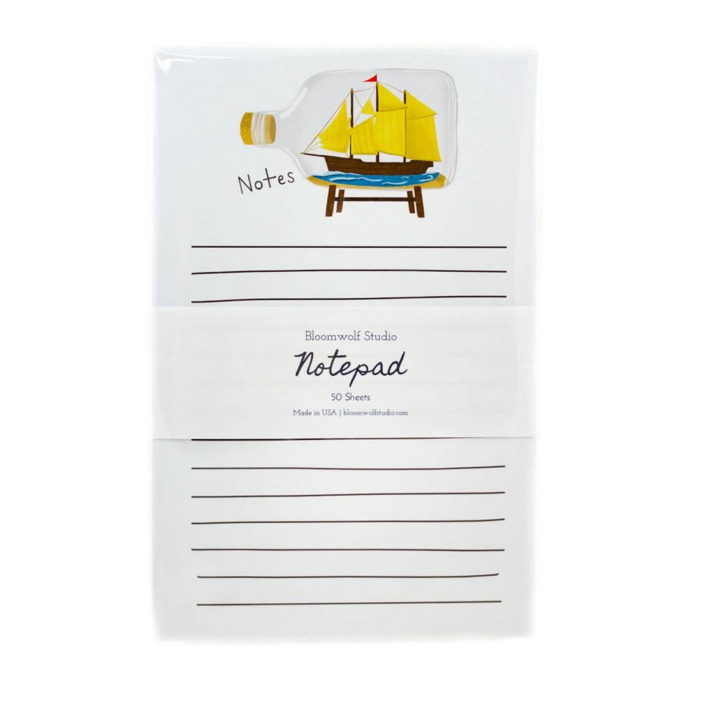 Bloomwolf Studio Ship In A Bottle Notepad