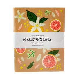 Bloomwolf Studio Grapefruit/Floral Notebook - Set Of 2