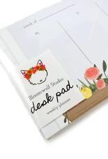 Bloomwolf Studio Window Flowers Weekly Desk Pad