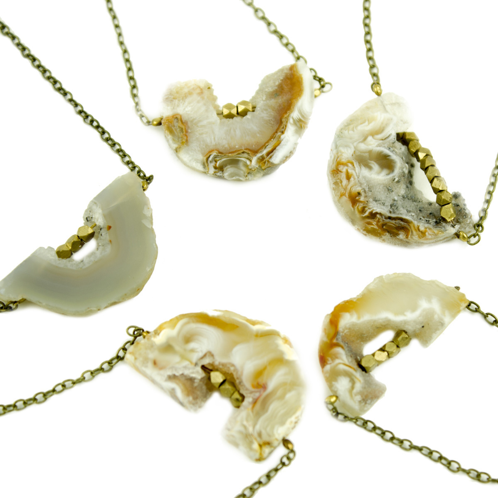 Grey Theory Mill Agate Slice Necklace
