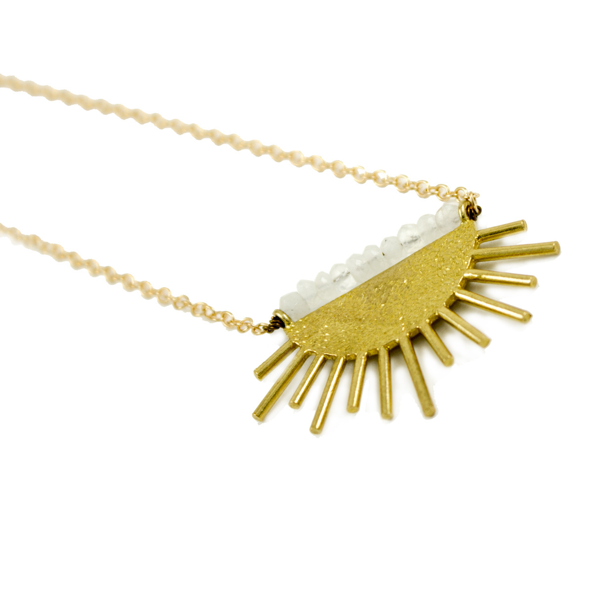 Grey Theory Mill Beaded Brass Sun Necklace