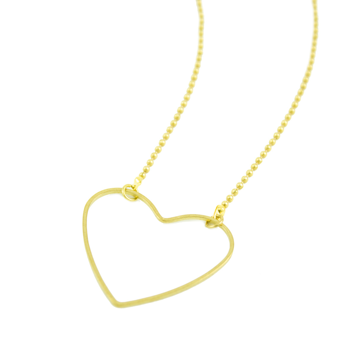 Grey Theory Mill Simple Heart Brass Necklace