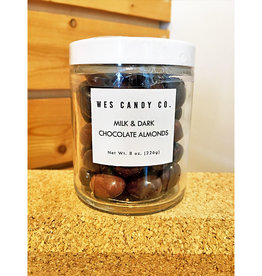 Wes Candy Co. Milk + Dark Chocolate Almonds 8oz. Jar
