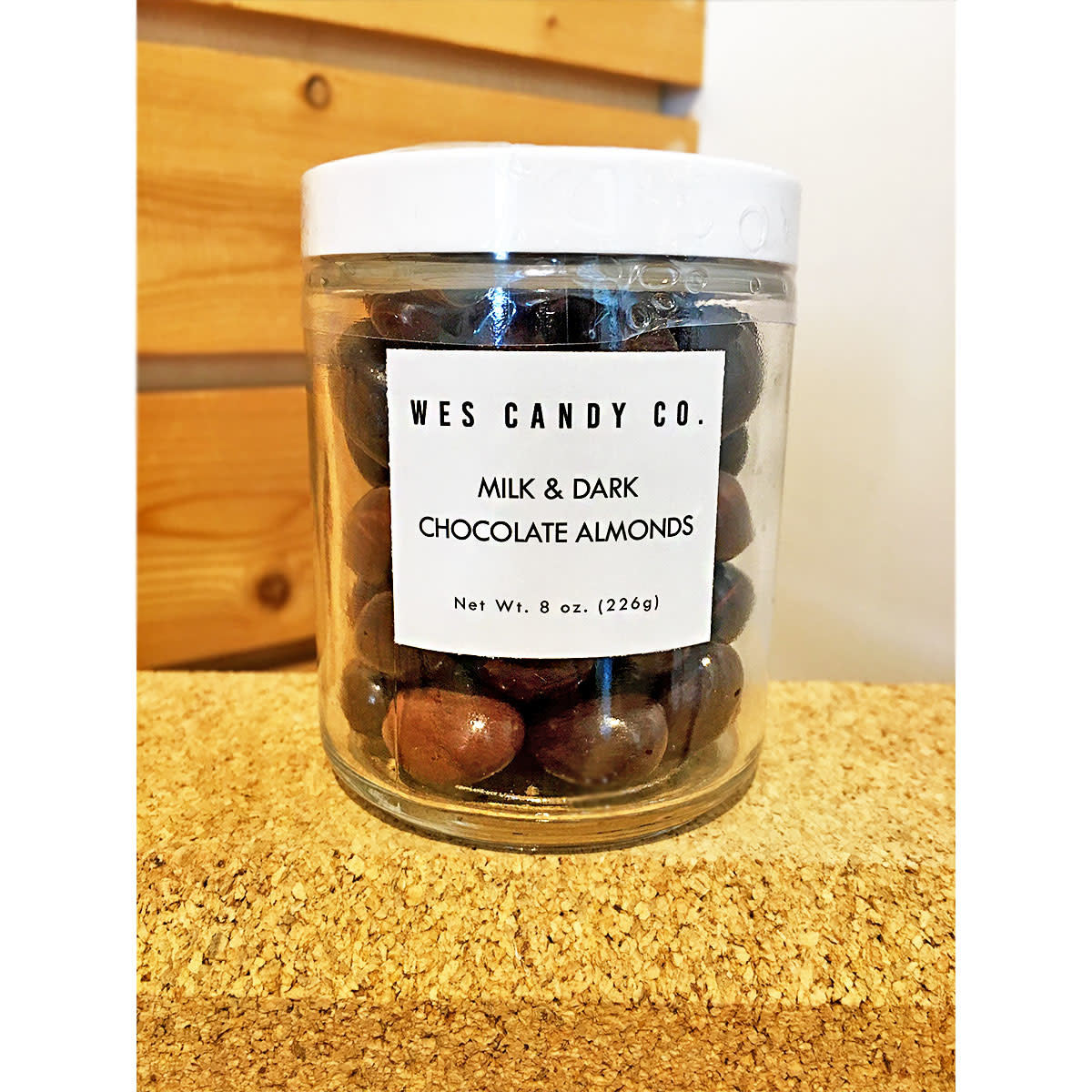 Wes Candy Co. Milk + Dark Chocolate Almond Jar