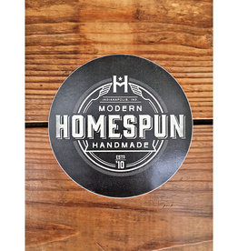 Homespun Homespun Logo Circle Sticker: White on Black