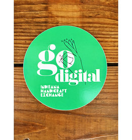 Homespun Go Digital Green Sticker