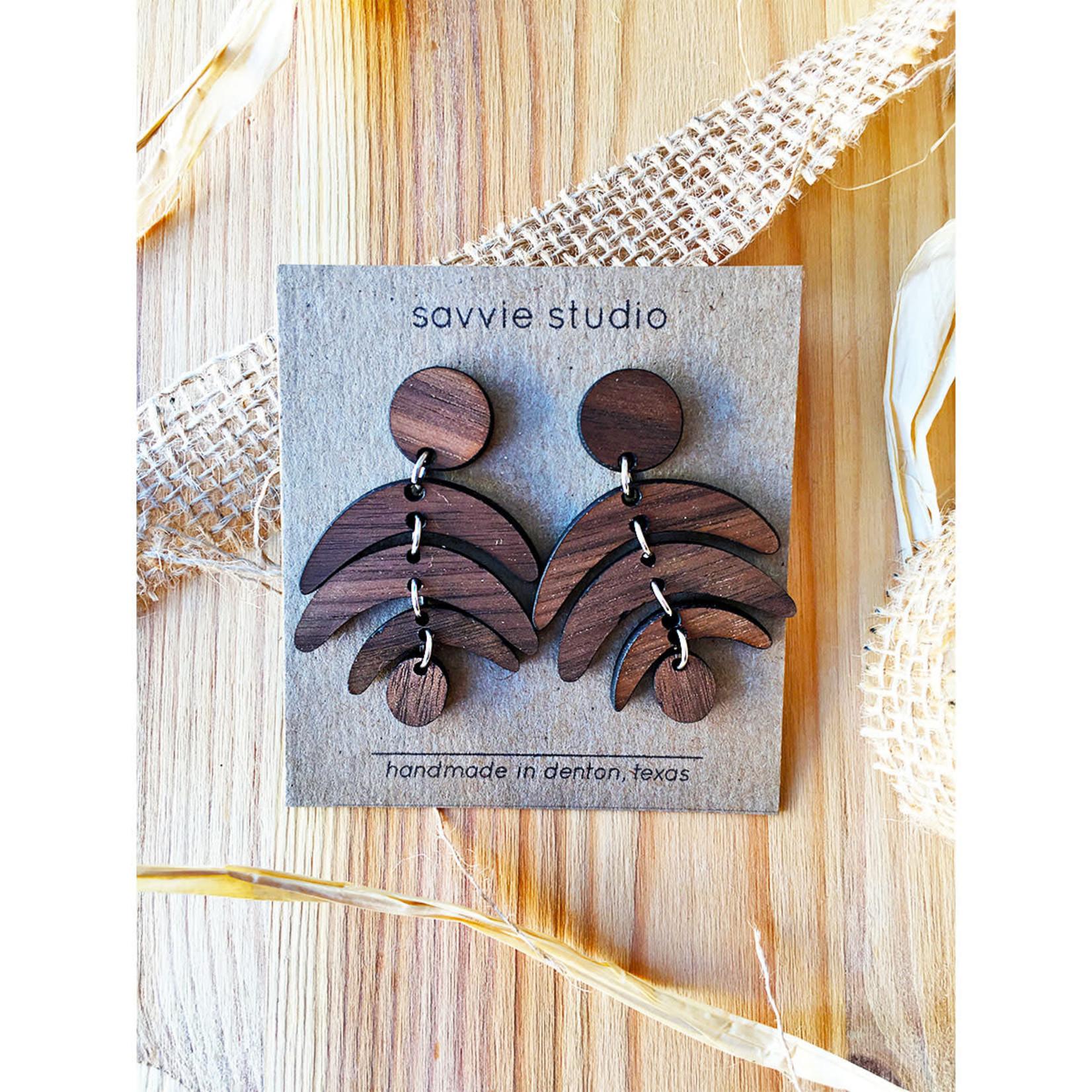 Savvie Studio Wooden Fern Dangle Earrings