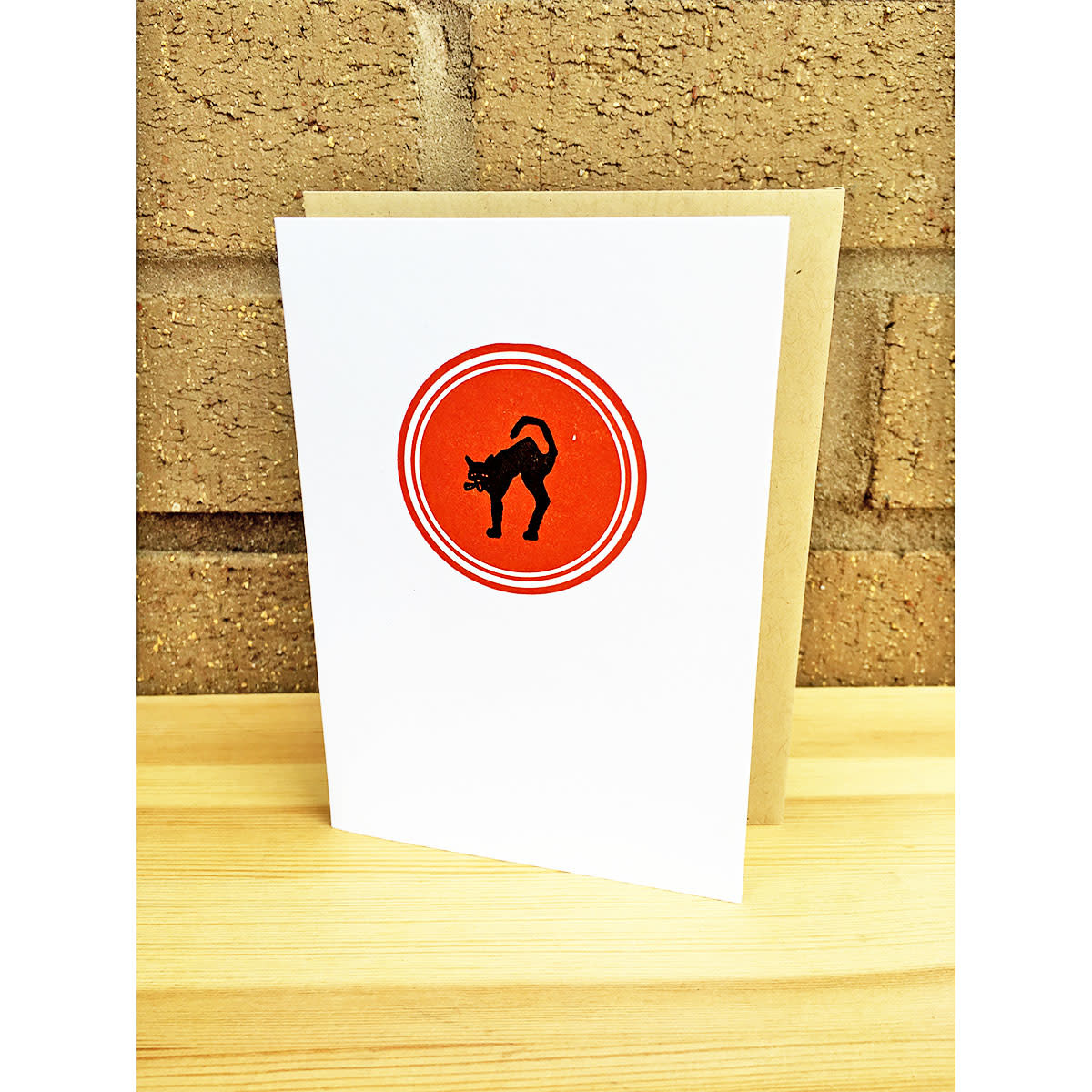 Igloo Letterpress Black Cat Red Circle Greeting Card