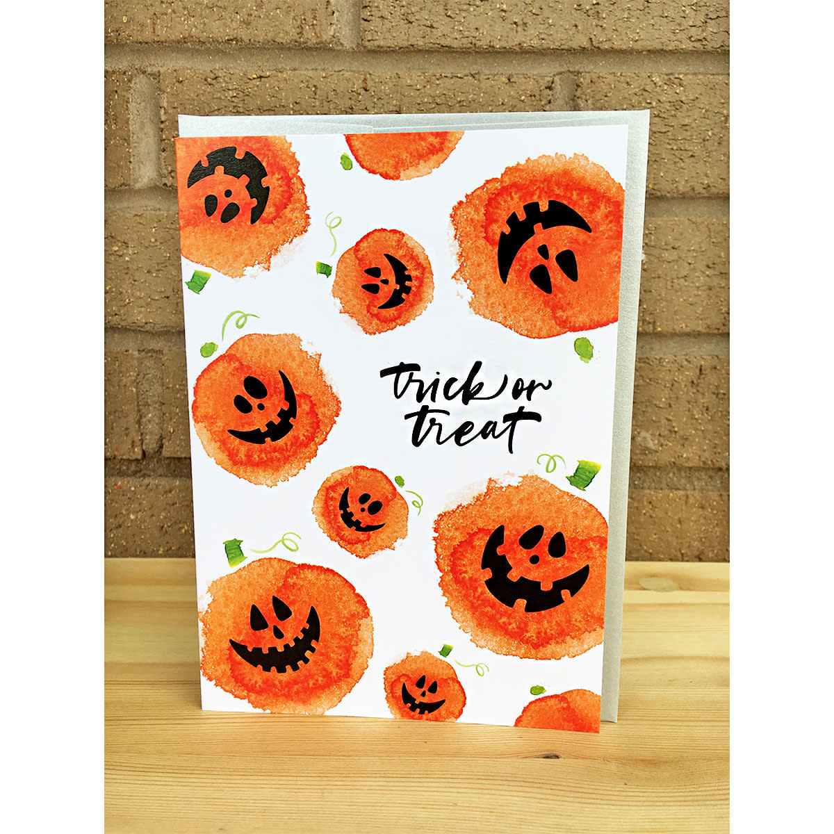Design With Heart Trick Or Treat Watercolor Pumpkins Greeting Card