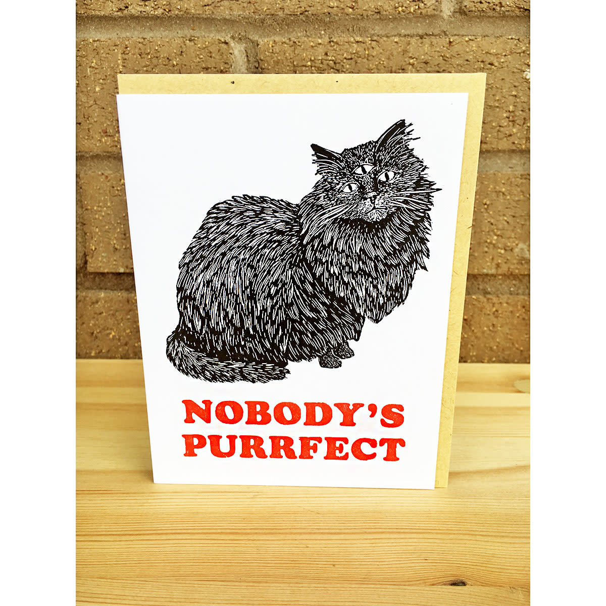 Questionable Press Nobody's Purrfect Greeting Card