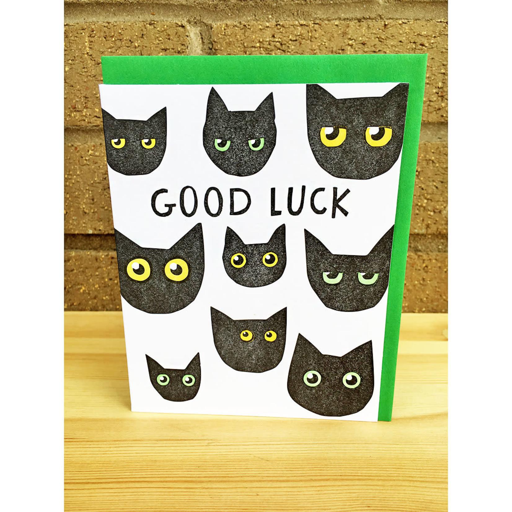 Big Wheel Press Good Luck Black Cats Greeting Card