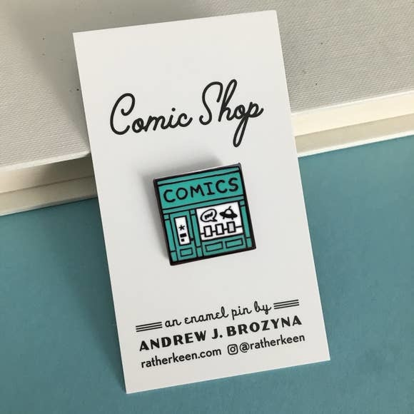 Rather Keen Comics Shop Enamel Pin