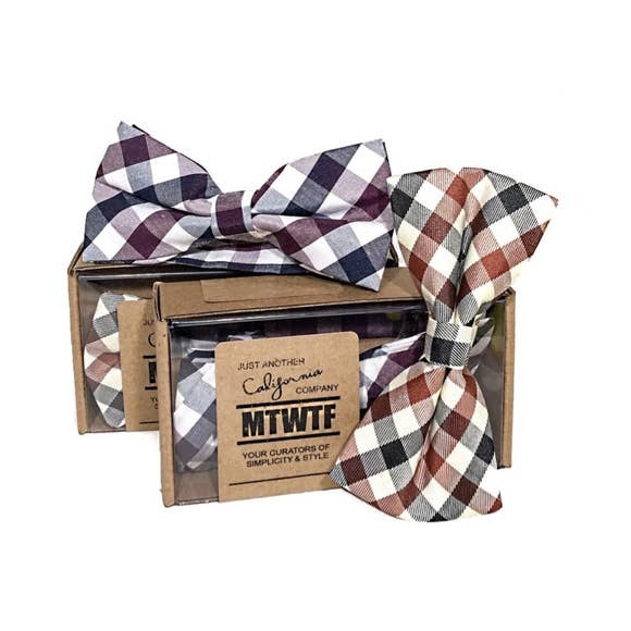 MTWTF Woven Bow Tie - Maroon Plaid