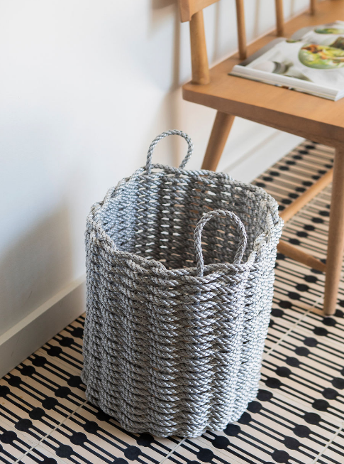 The Rope Co. Fog Gray - Tall Woven Rope Basket