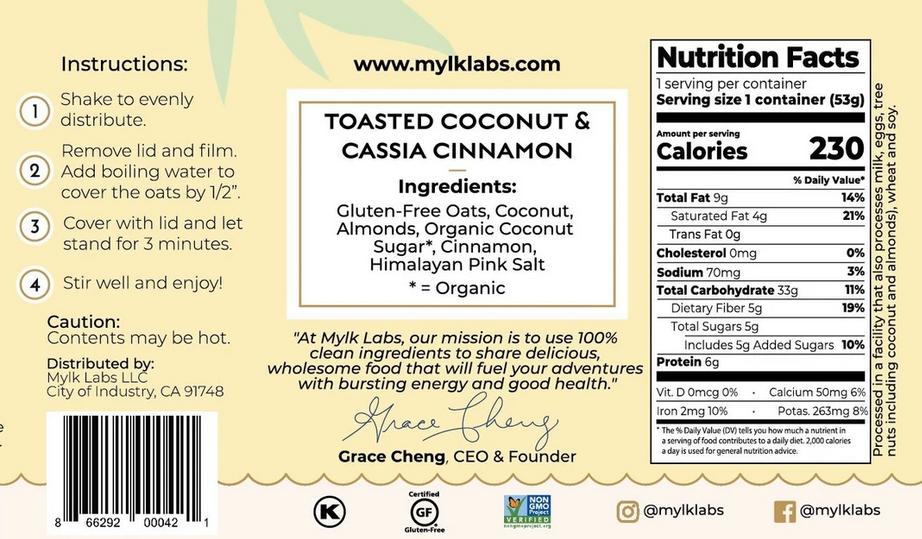 Mylk Labs (POC) Mylk Labs Instant Oatmeal