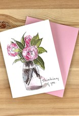 An Open Sketchbook Camellias: Thinking Of You Greeting Card