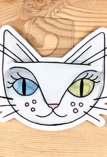 Cat People Press White Cat David Bowie Sticker