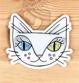 Cat People Press White Cat David Bowie Sticker