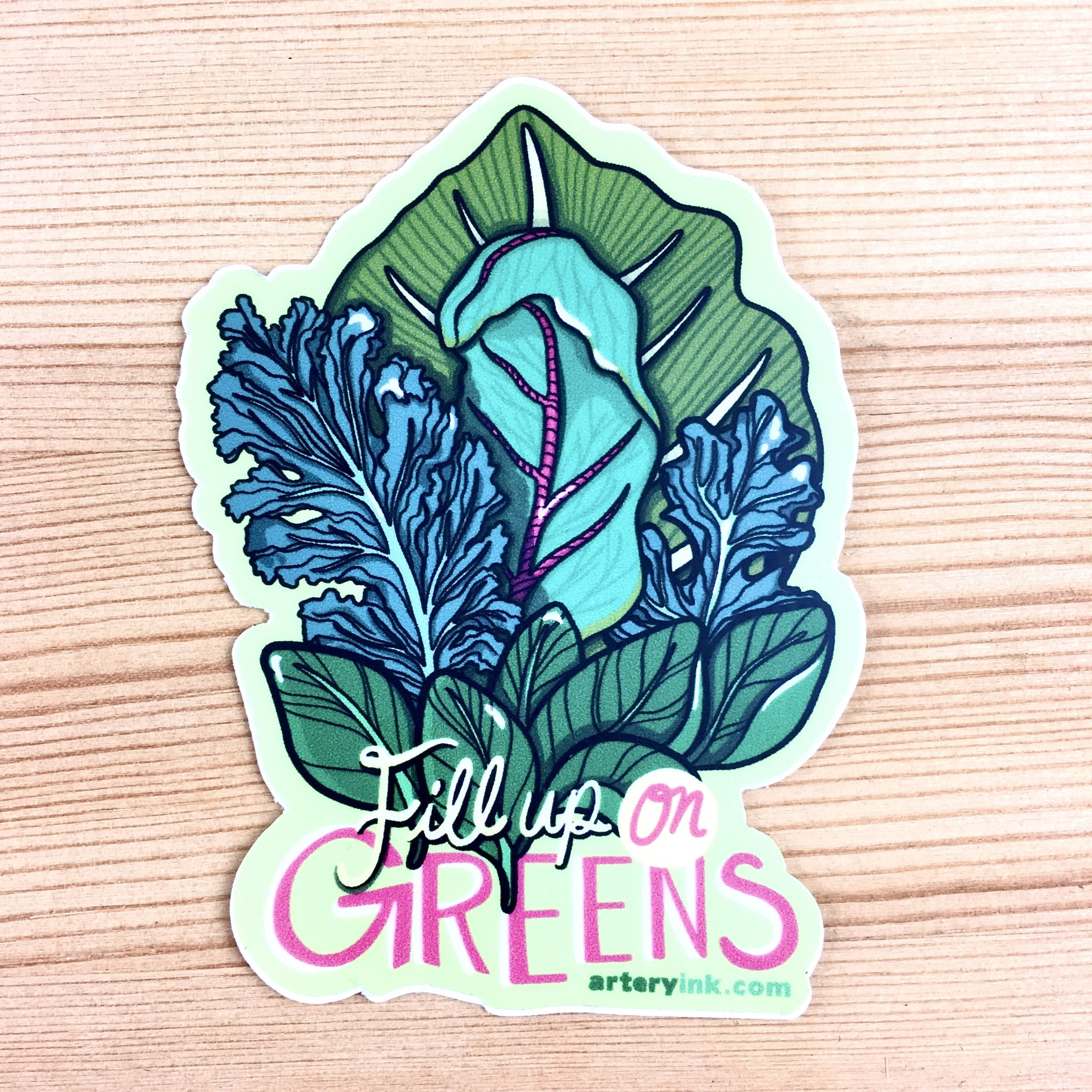 Artery Ink Fill Up On Greens Reminder Sticker