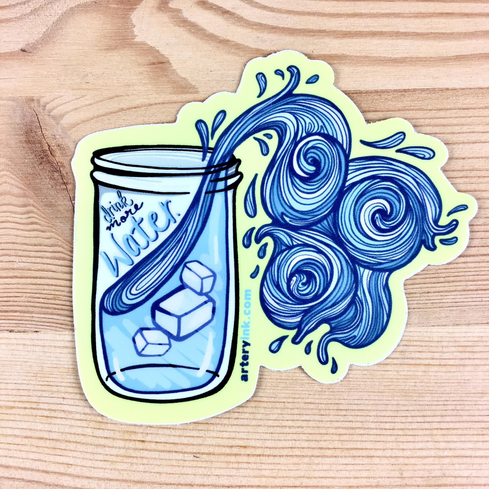 Artery Ink Drink More Water Reminder Sticker