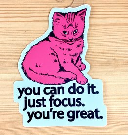 BadKneesTs Focus Doing Great Cat Sticker