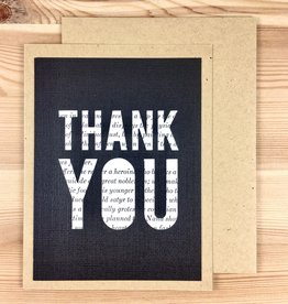 Type Shy Thank You Vintage Book Greeting Card