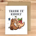 Box Berry Thank Ye Kindly Boots Greeting Card