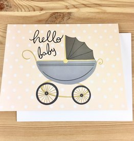 Bloomwolf Studio Hello Baby Carriage Greeting Card