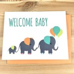 Mr. Sogs Creatures Baby Elephants + Balloons Greeting Card