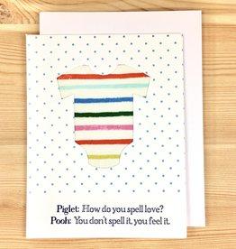Big Wheel Press Piglet Onesie Greeting Card