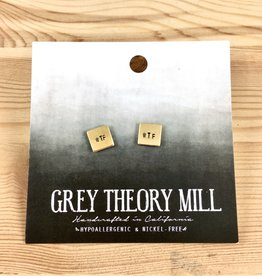 Grey Theory Mill WTF Stamped Earrings