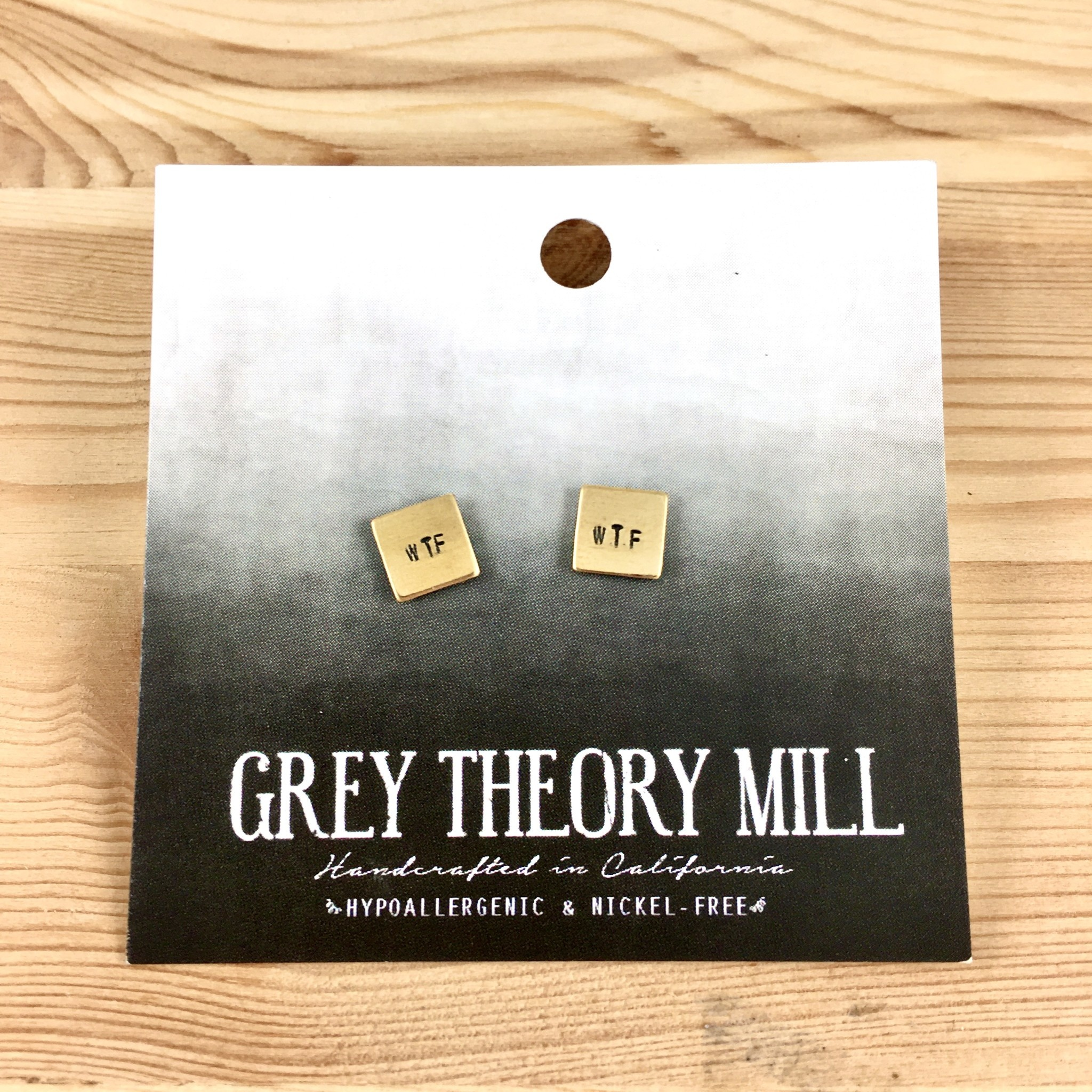 Grey Theory Mill WTF Stamped Stud Earrings