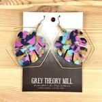 Grey Theory Mill Bright: Monstera Tortoise Dangle Earrings