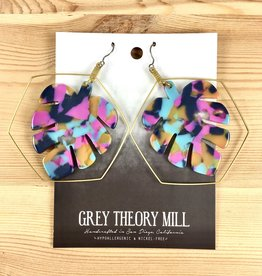 Grey Theory Mill Bright: Monstera Tortoise Dangle Earrings